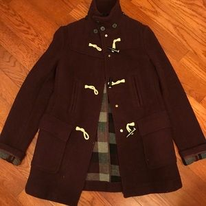 Topshop Maroon Toggle Coat